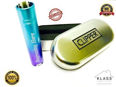 New GENUINE Blue Metal Clipper Lighter with FREE ENGRAVING Personalised Gift Set