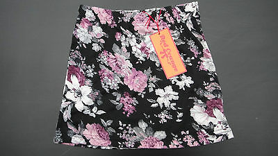 Bnwt Girls Black & Pink Floral Stretch Jersey Skirt Age 7/8 9/10 11/12  13 Years