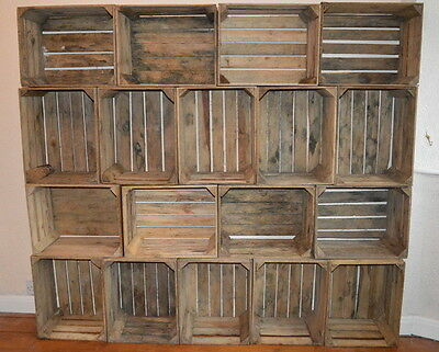 4 Vintage Wooden Apple Crates, Shabby Chic Storage, Rustic Fruit Bushel Boxes