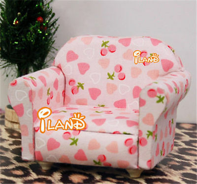 1/12 Dollhouse Miniature Furniture flowers Print Armchair Single Soft