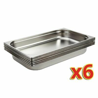 Vogue Set of Gastronorm Pans in Stainless Steel - 6 x 1/1 GN 9 Ltr
