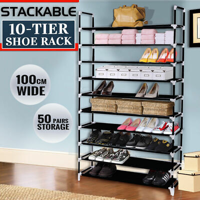 Large 2016 Model 50 Pairs 10 Tiers Stackable Storage Shoe Rack Holder
