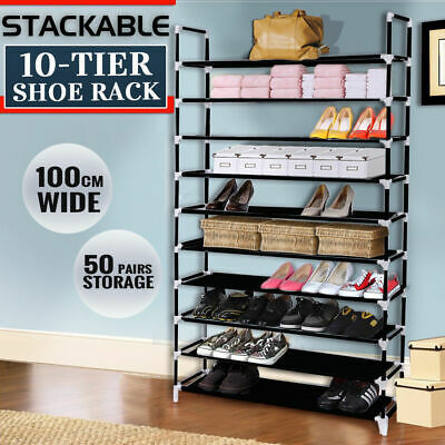 Large 2018 Model 50 Pairs 10 Tiers Stackable Storage Shoe Rack Holder