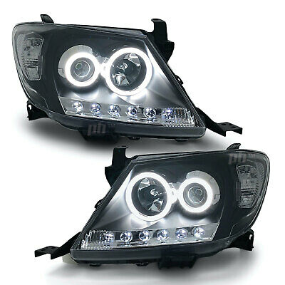 Headlights PAIR Black DRL HALO Projector Angel Eyes Fits Toyota HILUX 2005-2011