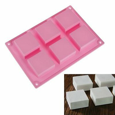 6 Square Cavity DIY Soap Mold Jelly Ice Cake Chocolate Silicone Mould Pink UK