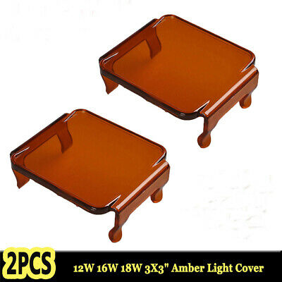 "2X Amber Lens Cover for Led Work Light Fog 3""x3"" 18W 16W 12W Cube Pod Off Road"