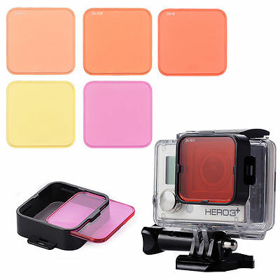 5pcs Diving Filter Kits Red+Purple+Yellow Lens+Adapter for Gopro Hero 4 3+ LF722