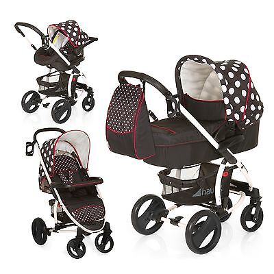 Hauck Malibu XL All in One 8-teiliges Kinderwagen Komplettset Dots Black TOP