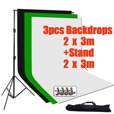 Photo Studio Screen Large 2x3m Black White Backdrop Background Support Stand Kit