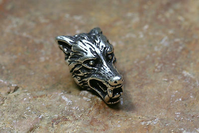 Beard Bead Wolf's Head Silver + Rubber Sterling Hair Decoration 6mm Opening