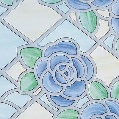Rose Blue Stained Glass Window Covering Sticky Back Plastic Self Adhesive Vinyl