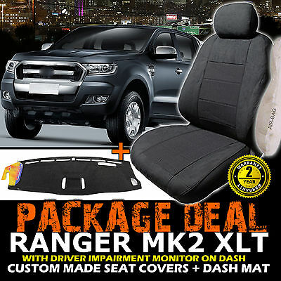 FORD PX RANGER MK2 XLT Seat Covers 2ROWS + Dash Mat 06/2015-2018 Charcoal DM1402
