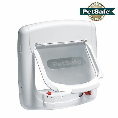 STAYWELL PETSAFE 400 White Magnetic CAT FLAP Pet Door 4-Way Lock - FREE UK P&P!