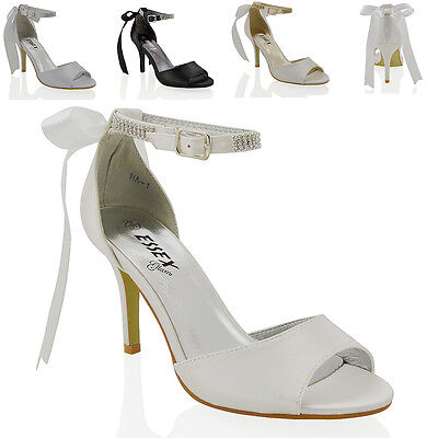 Womens Low Mid Heel Stiletto Peep Toe Ladies Diamante Ankle Strap Bridal Sandals