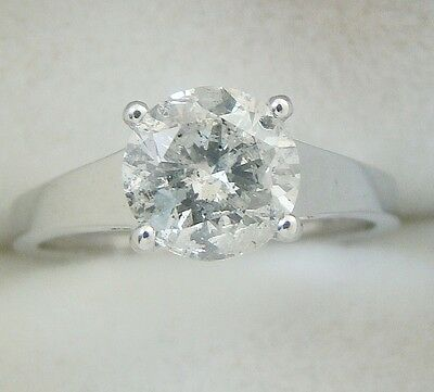 1.72 ct solitaire real diamond wedding engagement ring 18k white gold ring