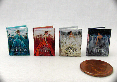 THE SELECTION SERIES Set 4 Miniature Books Dollhouse 1:12 Scale Readable Books