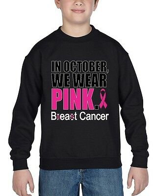 In October We Wear Pink Youth Crewneck Breast Cancer Awareness Sweater