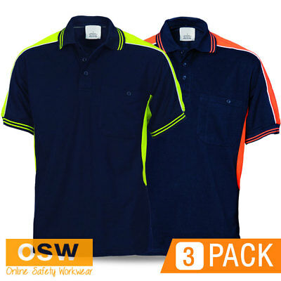 3 X Hi Vis Navy Yellow/Orange Panel Polyester Cotton Polo Office Work Shirts