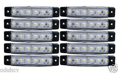 10 pezzi x 12V 6 LED Luci Indicatore Laterale bianco per Camion Ford Fiat