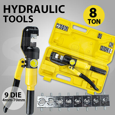 8 Ton Hydraulic Wire Force Terminal Crimper Cable Crimping Tool 9 Dies NEW