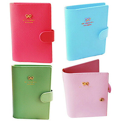 Passport Holder Cover Ticket Card Case Vogue Bowknot PU Leather Travel Wallet