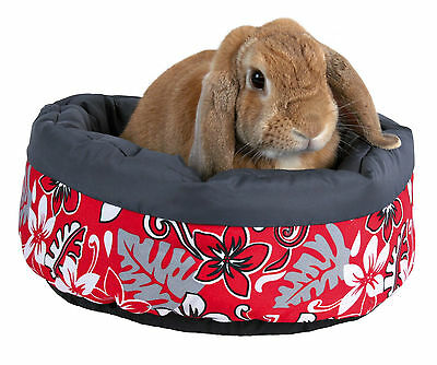 Red Flower Chinchilla Rabbit Bed with Fleece Filling & Microfibre Cover 35cm