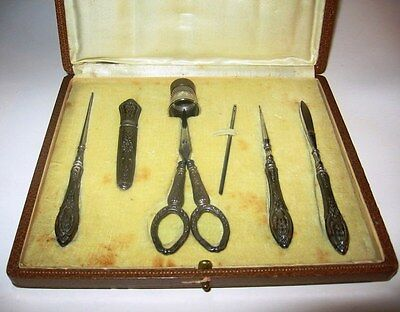Antique Nogent Flower Silver Sewing Kit circa 1890-1920