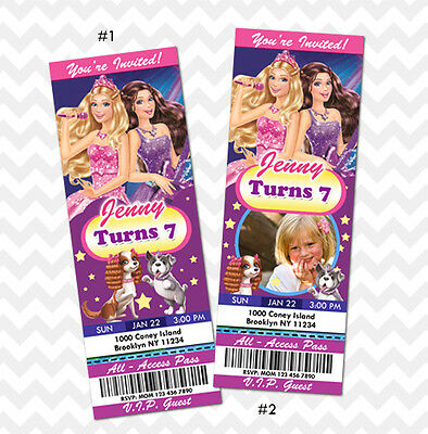 Barbie Invitations Barbie Ticket Invitations Princess Barbie Birthday Invites