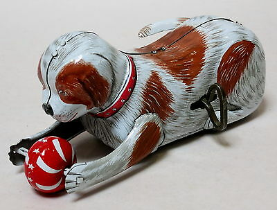 Vintage Kanto Wind Up Playing Roll Over Dog & Ball Tin Toy