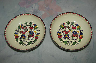 Lot of 2 vintage Greek Moissiadis Enamelware Small trinket pin bowls