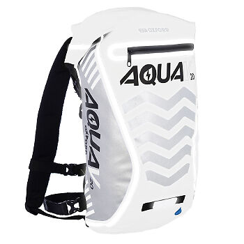 Oxford AquaV 20L High Visibility Motorcycle Motorbike Backpack White