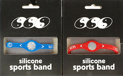 2 X Silicone Rubber Wristband Bracelets Pro Ionic Sport Band RED BLUE - LARGE