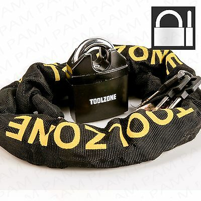 65mm HIGH SECURITY PADLOCK & 1.1m CHAIN Extra Strong Hardened Steel Shackle Lock