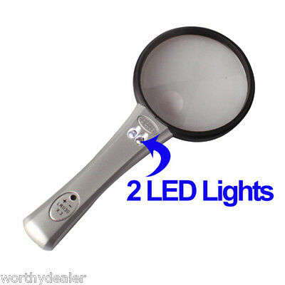 Hand held Classic Magnifying glass  LED lamp Large 75mm pocket magnifier & light