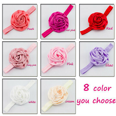 Wedding*Hairband*Bridesmaid*Hair Accessories* LARGE ROSE FLOWER SATIN ALICEBAND
