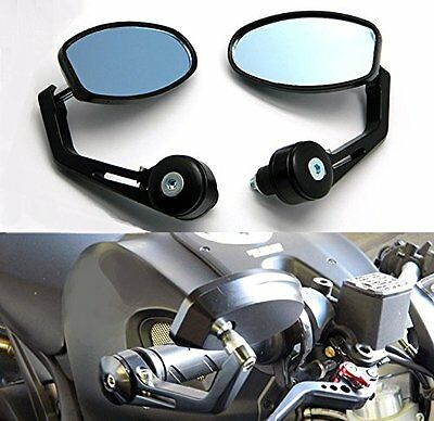 """7/8"""" Aluminum Rear View Side Mirror Black Handle Bar End Oval For Motorcycle New"""