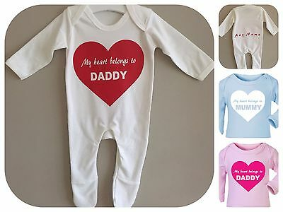 Red heart romper babygrow blue pink my heart belongs to mummy/daddy PERSONALISED