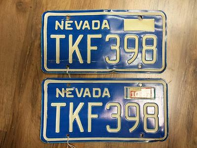 1987 pair of NEVADA License Plates (TKF-398)