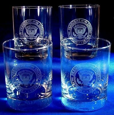 Four Presidential Seal Glasses/Tumblers - President Glass - White House