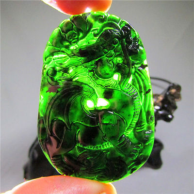 Chinese natural black green jade jadeite pendant hand-carved dragon necklace