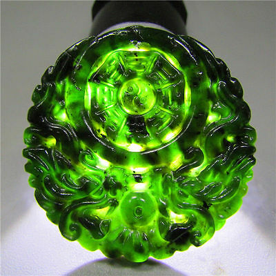 Natural Chinese Green Jade Jadeite Pendant Necklace Dragon Hand-carved Pendant