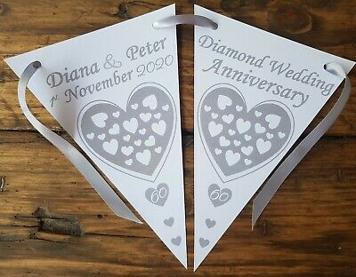 Personalised 60th Diamond Wedding Anniversary Party Bunting Banner Decoration