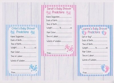 PERSONALISED Baby Shower Prediction Game Cards BOY, GIRL, UNISEX 12,24,40,50