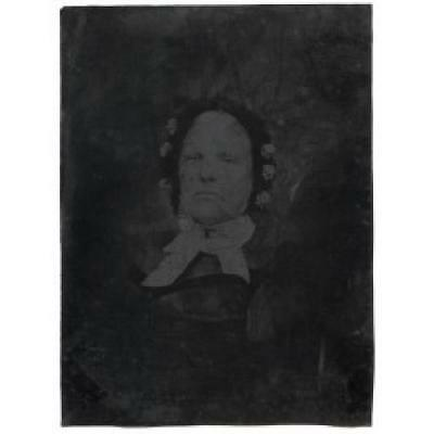 Old Grumpy Woman w/ Flowered Hat Full Plate Tintype Photograph Antique Photo