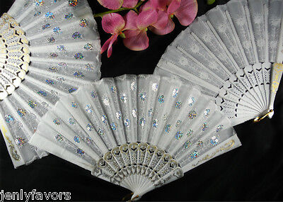 White Cloth Hand Fans with White Plastic Handle (10 pcs)