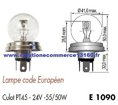 Lot 2 Lampe Ampoule Code Europeen Culot Pt45 24V 24 Volts 55W 50W Blanc Phare