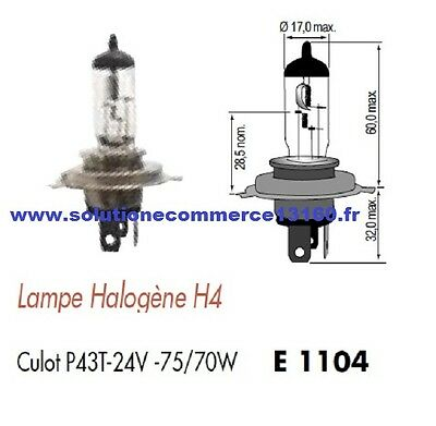 Lot 2 Lampe Halogene H4 24V 24 Volts 75W 70W Culot P43T Ampoule Phare