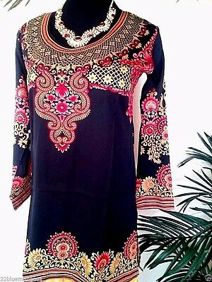 Indian Designer Black Crepe bollywood kurti ethnic top Kurtis Tunics for women
