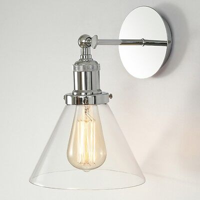 Modern Vintage Industrial Chrome Glass Cone Wall Light Sconce Lamp Fixture