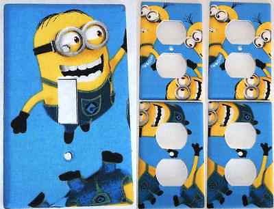 Blue Minion Despicable Me Light Switch Cover Bedroom Bathroom Decor Set 1&4